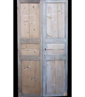 2 portes en chêne et sapin 19e 123x234